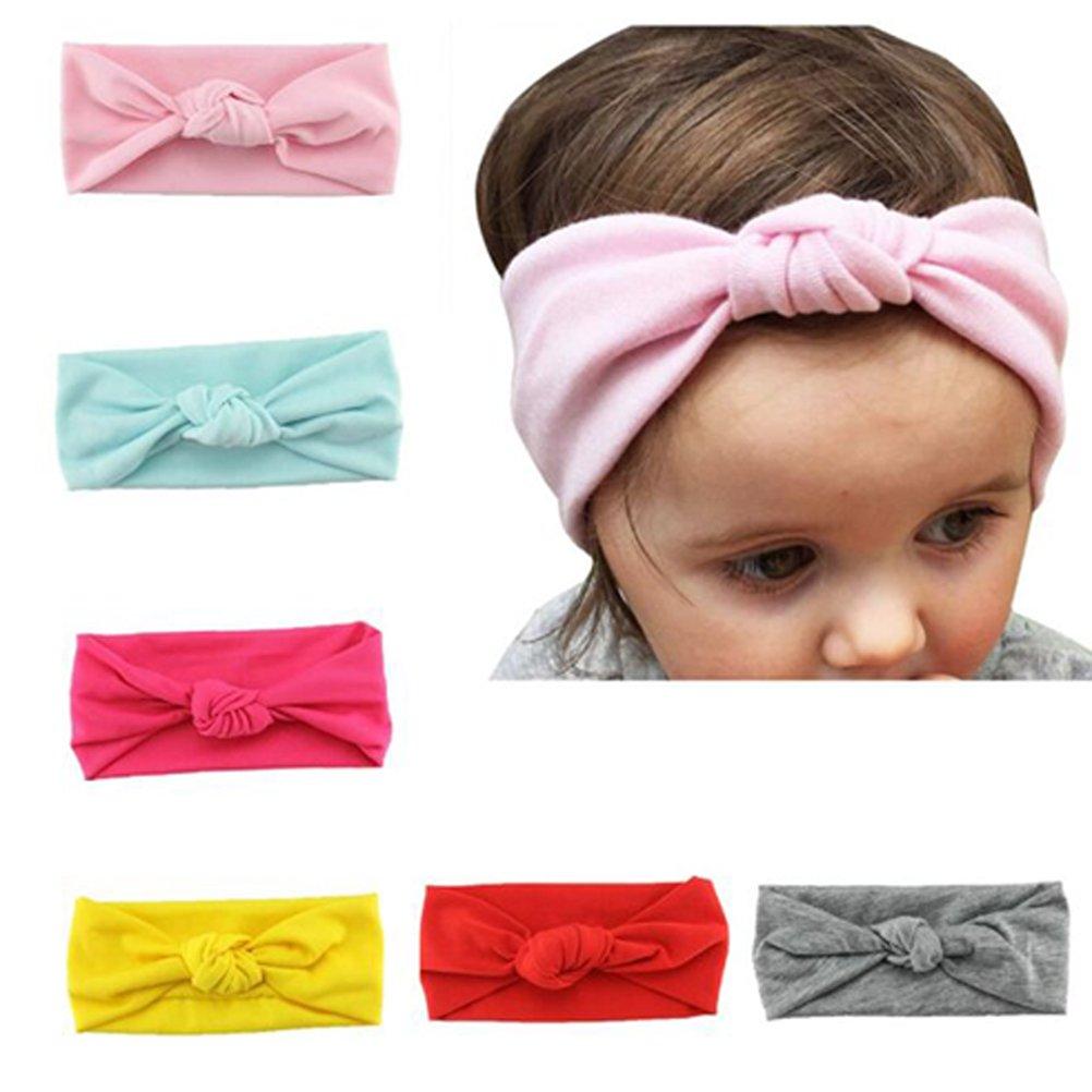 HABI 6 stk Stirnband mehrfarbig und blumenreich elastisch Haarband Fliege Schleife für Kinder Baby Mädchen