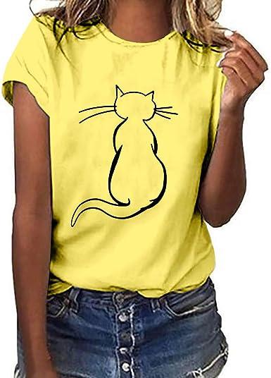 MEIbax Moda Estampado de Gato Camiseta de Mujer Verano Debe Manga Corta de Las Mujeres Ocio Vacaciones Tops de Mujer Suelto y cómodo Ropa de Mujer: Amazon.es: Ropa y accesorios