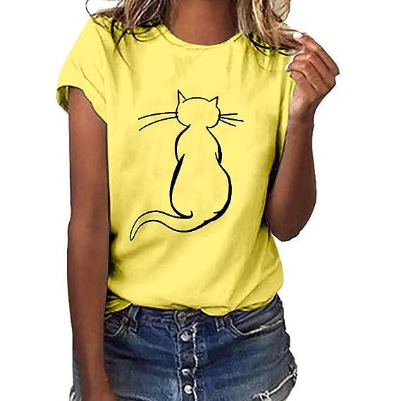 MEIbax Moda Estampado de Gato Camiseta de Mujer Verano Debe Manga ...