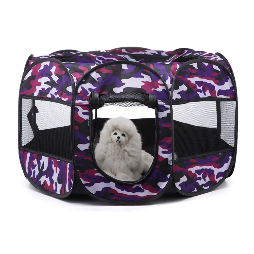 Purple Pet Kennel Summer Outdoor Kennel Play cat Rabbit Tent Puppy Dogs Supplies Space Carrying case Travel Bowl Pen Bag Door Camping,S,Purple