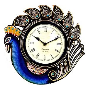 Purpledip Peacock Blue Wall Clock For Living Room 12x12 Inch Clock91a Home Kitchen
