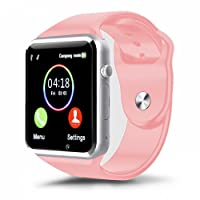 Kivors Reloj Inteligente A1 Bluetooth Smartwatch con TF / Ranura de Tarjeta SIM para Usar Como Teléfono Móvil, con Rastreador de Actividad, Podómetro Inteligente, Sueño, Notificación de SMS, Compatible con Android (Rosa)
