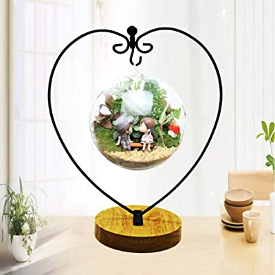 Ornament Display Stand Iron Pothook Stand for Hanging Glass Terrarium with Wood Base Creative Decoration for Home Garden Wedding Party Festival (Heart): Home & Kitchen