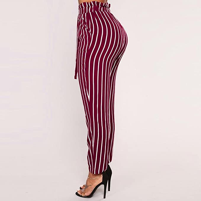 Amazon.com: Dingji Womens Harem Pants, Striped High Waist Women Bowtie Elastic Waist Casual Pants: Clothing
