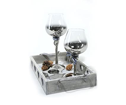Vassoi In Legno Con Vetro : Decoris vassoio in legno con calici in vetro: amazon.it: casa e cucina