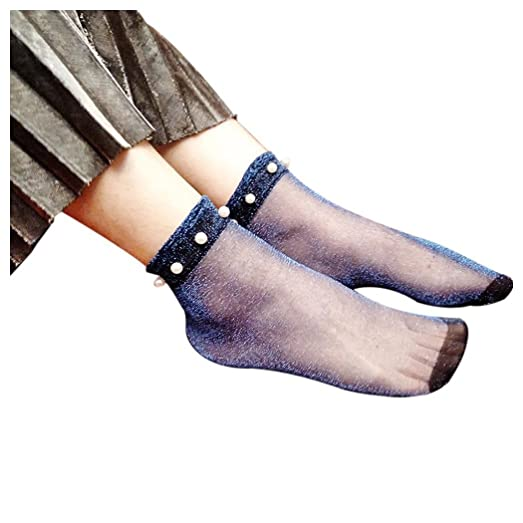 Women Fishnet Socks Inkach Stylish Girls Summer Glitter Soft Lace Fishnet Mesh Ankle Short Socks Stockings