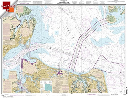 Paradise Cay Publications NOAA Chart 12222: Chesapeake Bay Cape Charles to Norfolk Harbor 21.00 x 27.39 (SMALL FORMAT WATERPROOF)