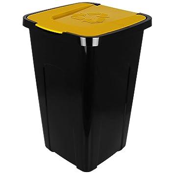 Abfalleimer M/ülleimer Recyclingtonne XL schwarz mit farbigem Deckel 50 Liter 1 St/ück Farbe:Blau