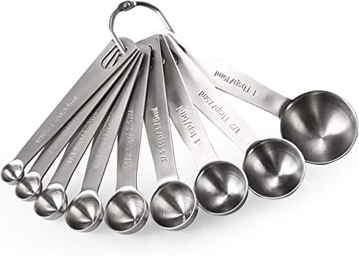 10 Pieces Set of Measuring Cups Spoons Stainless Steel Kitchen Baking Teaspoon
