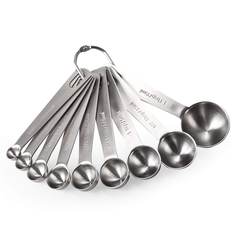 Measuring Spoons: U-Taste 18/8 Stainless Steel Measuring Spoons Set of 9 Piece: 1/16 tsp, 1/8 tsp, 1/4 tsp, 1/3 tsp, 1/2 tsp, 3/4 tsp, 1 tsp, 1/2 tbsp & 1 tbsp Dry and Liquid Ingredients by U-Taste