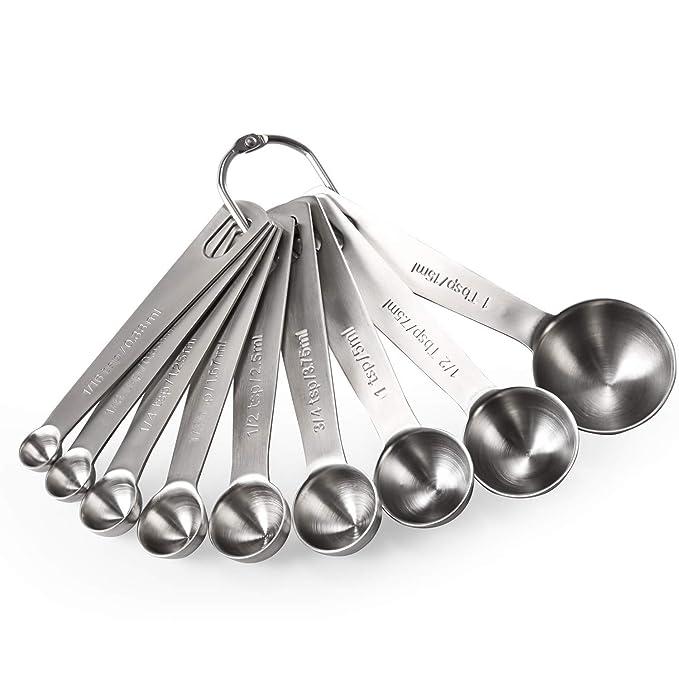 Measuring Spoons: U-Taste 18/8 Stainless Steel Measuring Spoons Set of 9 Piece: 1/16 tsp, 1/8 tsp, 1/4 tsp, 1/3 tsp, 1/2 tsp, 3/4 tsp, 1 tsp, 1/2 tbsp ...