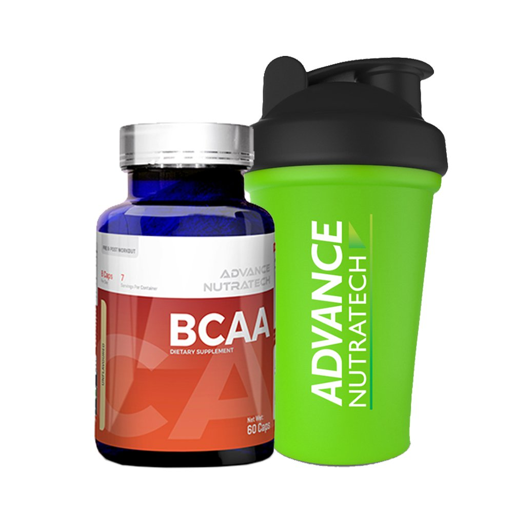 BCAA 60 capsules Pre-workout Amino Source Unflavoured with Shaker