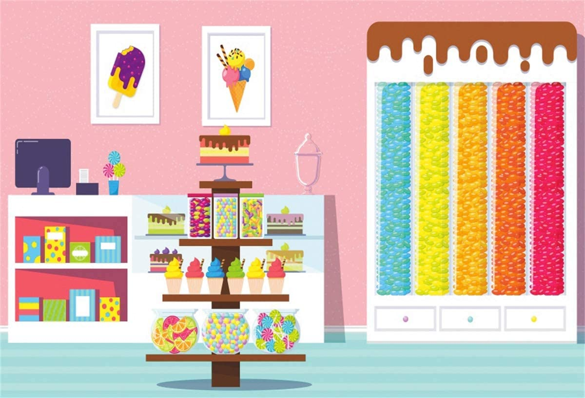 YEELE Cartoon Candy Shop Backdrop 10x8ft Kids Birthday Party Decoration Photography Background Boy Girl Baby Shower Parenting and Kids Acting Show Cake Table Photobooth Props Digital Wallpaper