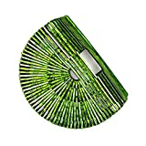 Womens Ark Bamboo/Acrylic Clutch Handbag Large Tote Bag Beach Bag (Green)