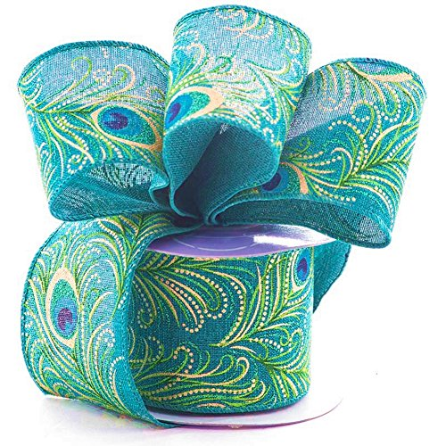 2 1/2 Inch Wide Peacock Glitter Fabric Ribbon - 10 Yards