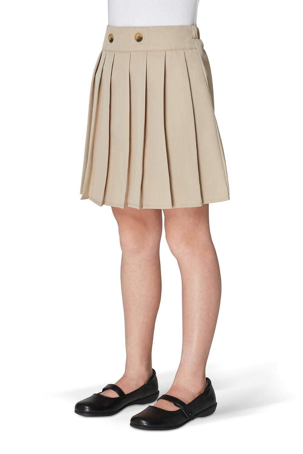 French Toast Girls' Little Front Button Pleated Scooter, Khaki, 4 by French Toast