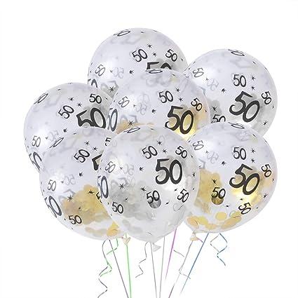 Toyvian 10pcs 50 Anni Compleanno Decorazione Palloncini In Lattice Confetti Palloncini Per Festa Decorazione 5 D Oro 5 D Argento