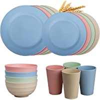 Insetfy Wheat Straw Dinnerware Sets, Plates Bowls Cups Sets of 4, Unbreakable Lightweight Plastic Camping Dinnerware for…