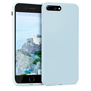 kwmobile Funda compatible con Apple iPhone 7 Plus / 8 Plus - Carcasa de TPU silicona - Protector trasero en azul claro mate