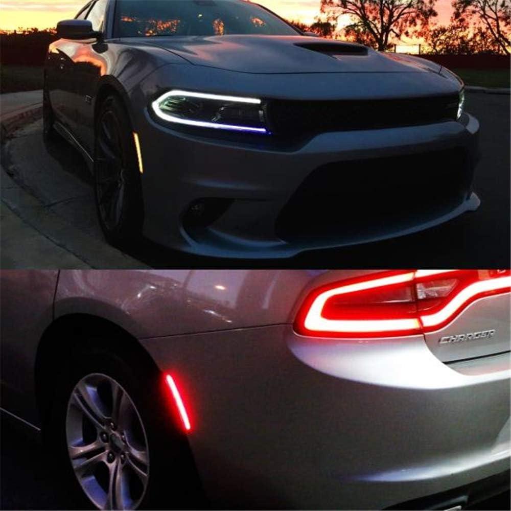 Amber Red LED Side Marker Light for Dodge Charger 2015 2016 2017 2018 2019 Clear Lens Led Side Marker Lights Front /& Rear Sit Car Led Side Marker Lamp Kit