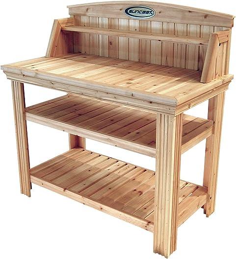 Suncast Cedar Freestanding Organizer Garden Bench