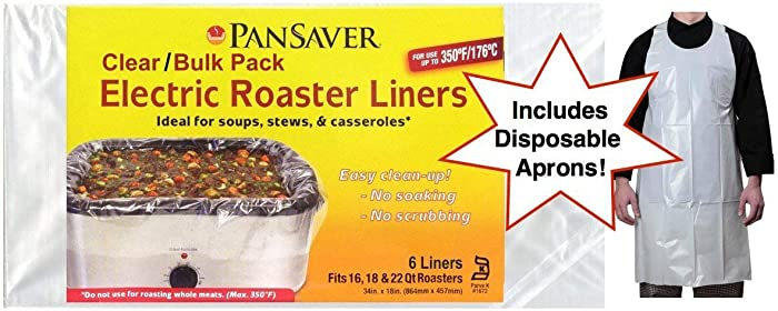 Pansaver Electric Roaster Oven Liners, 4 Box Bundle (8 Liners). Fits 16,18 & 22 Quart Roasters. Includes 8 FREE Superior Individually Wrapped Aprons.