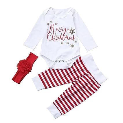 cc9bdbc19860 Coper Baby Girls Boys Letter Romper+Pants+Hat Christmas Outfits Set (12  Months
