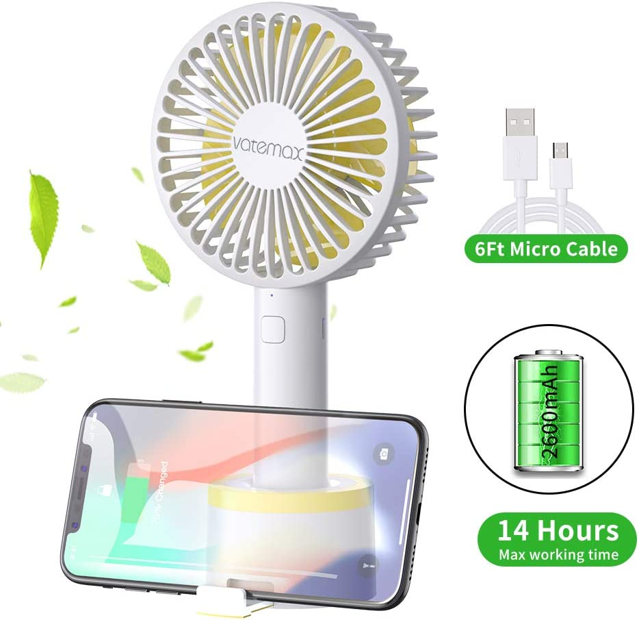 Mini Handheld Fan,Vatemax Rechargeable 2600mAh Personal Fan 3 Speeds Portable Fan Strong Airflow Desktop Fan with Base Plus 6ft USB Cable for Home,Office,Travel,Outdoor,Disney,Football Game Use White