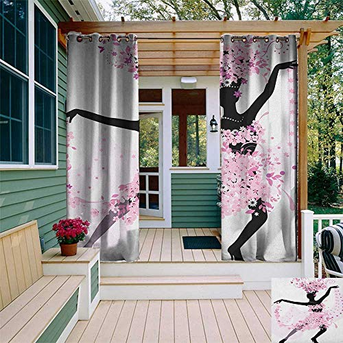 (leinuoyi Latin, Outdoor Curtain Kit, Silhouette of a Woman Dancing Samba Salsa Latin Dances Spain and Mexico Culture Print, Outdoor Curtain Set for Patio Waterproof W72 x L96 Inch Pink Black)