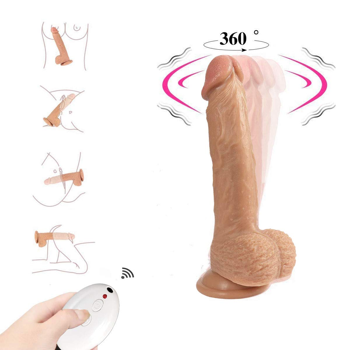 Rzoeox Realistic Silicone Dildo with Suction Cup - 8.5 Inch Lifelike Penis Wireless 10 Meter Remote Control 8 Speed Vibrator Vibrant Adult Sex Toy for Women Masturbation