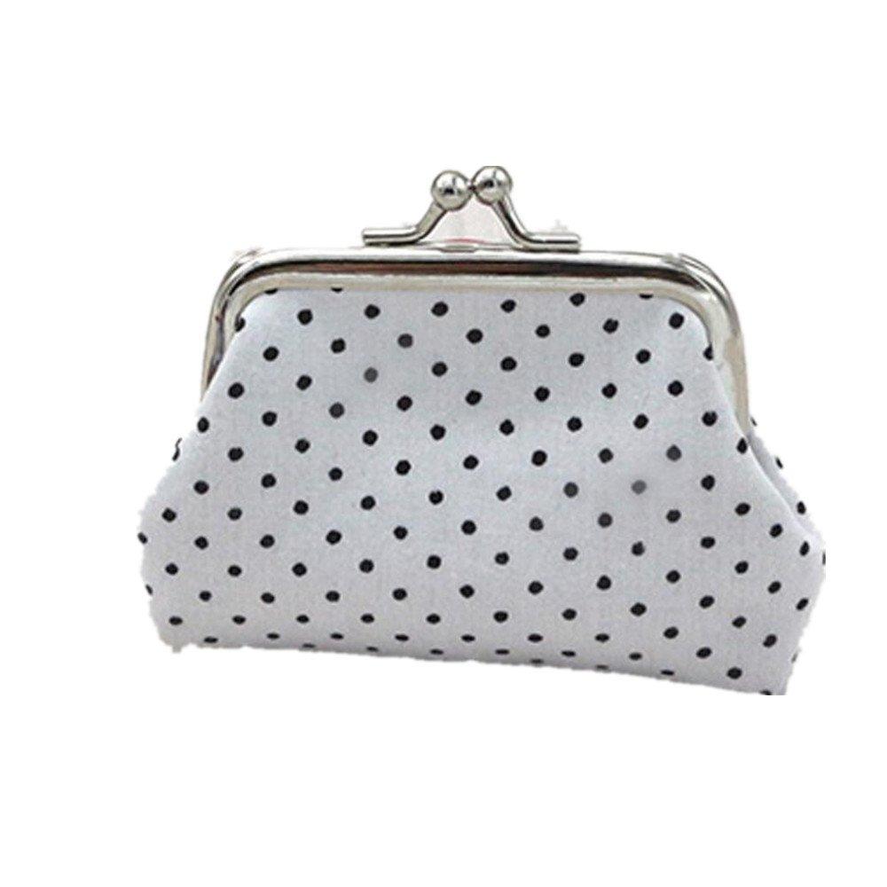 Womail Women Cute Hasp Retro Wallet Card Coin Change Holder Handbags (White)