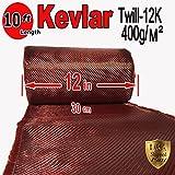 12'' x 10 FT Red - KEVLAR FABRIC-2x2 TWILL WEAVE-3K/220g