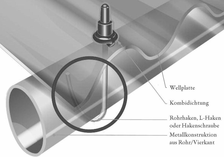 Rohrhaken M6 f/ür Wellplatten 1 1//4 Paketinhalt: 100 St/ück /Ø ca 42 mm