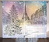 Winter Decorations Curtains Image of Stormy Winter Day in Paris Streets Eiffel Tower Europe Scene Living Room Bedroom Window Drapes 2 Panel Set Pink White Review