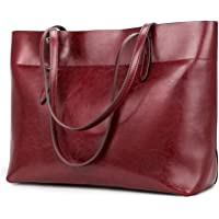 Kattee Vintage Genuine Leather Tote Shoulder Bag for Women Satchel Handbag with Top Handles(Red)