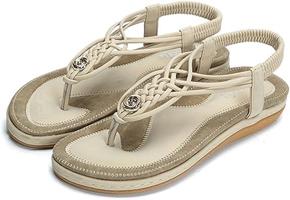 Camfosy Sandales Femmes Plates, Chaussures Été Tongs à Talons Plats Claquettes Nu Pieds Semelle Compensée Confortable Bout Ouvert pour Filles Plage