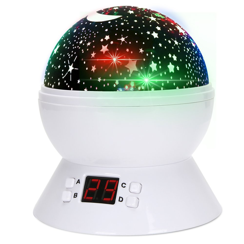 Baby Night Light Projector TOTOBAY Star Light Projector 360° Rotating Round Night Light Projector Lamp with LED Timer Auto-Shut Off Star Moon Sky Projector Light for Kid Bedroom Christmas Gift (black) A-shopbuy