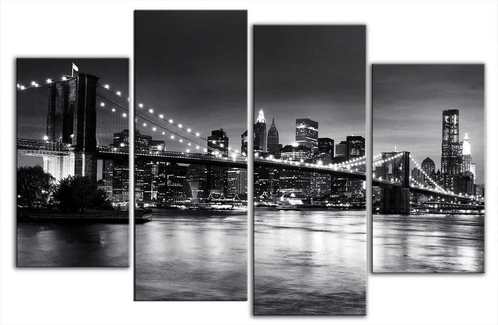 Large new york brooklyn bridge black and white canvas artwork 4 pieces multi panel split canvas completely ready to hang hanging cord attached