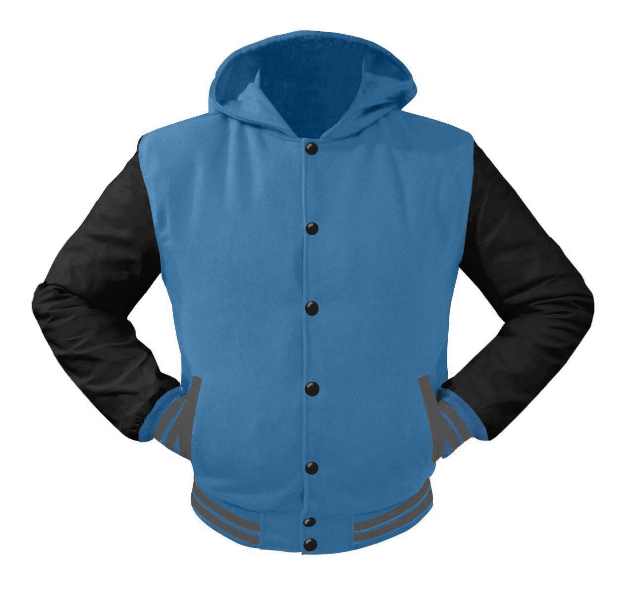 luvsecretlingerie Superb Leather Sleeve Original American Varsity Letterman College Baseball Kid Wool Hoodie Jackets #B-G-B by luvsecretlingerie