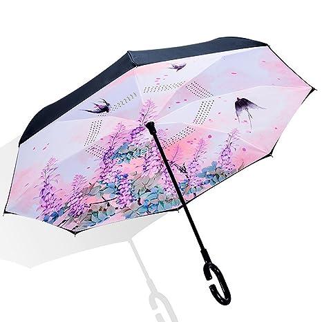 Y&S Paraguas Reversible, Lluvia y Lluvia Paraguas Protección UV Sombrilla Sombrilla Paraguas Paraguas Paraguas Paraguas
