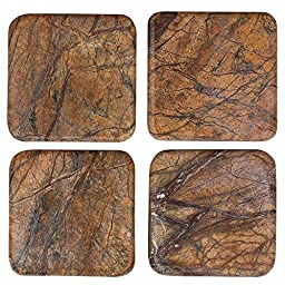 Coasters Set of 4 Brownish Stone with Dark Fragments 3.75 X 3.75 Inches Dining Table Coffee