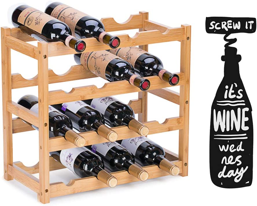 FOSTERSOURCE Wine Rack, Natural Bamboo Storage Rack Freestanding Countertop Stackable Display Shelf Wine Bottle Holder (4-Tiers 16-Bottles)