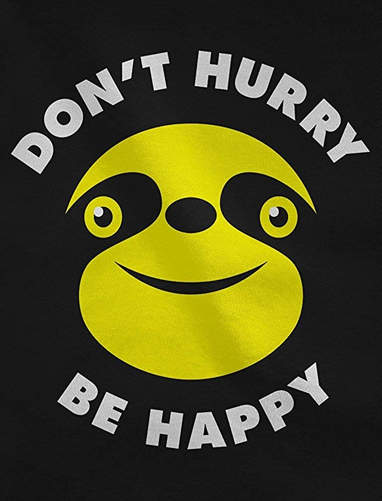 Dont Hurry Be Happy Slow Living Sloth Youth Kids Long Sleeve Cotton T-Shirt