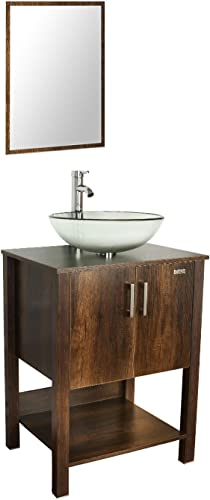 eclife 24 Bathroom Vanity Sink Combo Brown Cabinet W/Round Clear Tempered Glass Vessel Sink