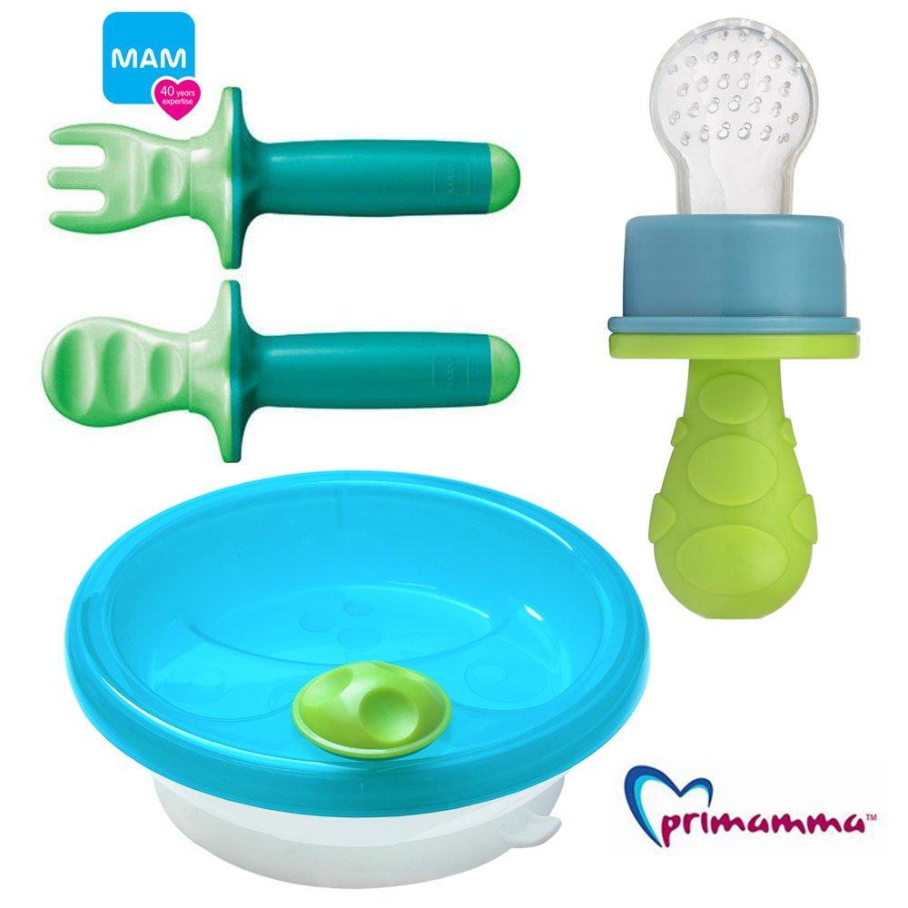 MAM pour enfants –  Set Neutral Assiette Garde au Chaud + Couverts d'apprentissage Mam Dipper Set 6 + & Primamma Fruit Aspirateur neutre lel