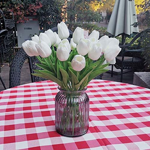 Awtlife - 24 Tulipanes de Flores Artificiales de latex, Tacto Real para Ramos, Bodas, Fiestas, Baby Shower, decoracion del hogar, Color Blanco