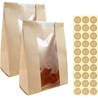 Twdrer 50 Pack Large Kraft Paper Bread Loaf Bag with Clear Front Window,Tin Tie Tab Lock Brown Bakery Coffee Cookie…