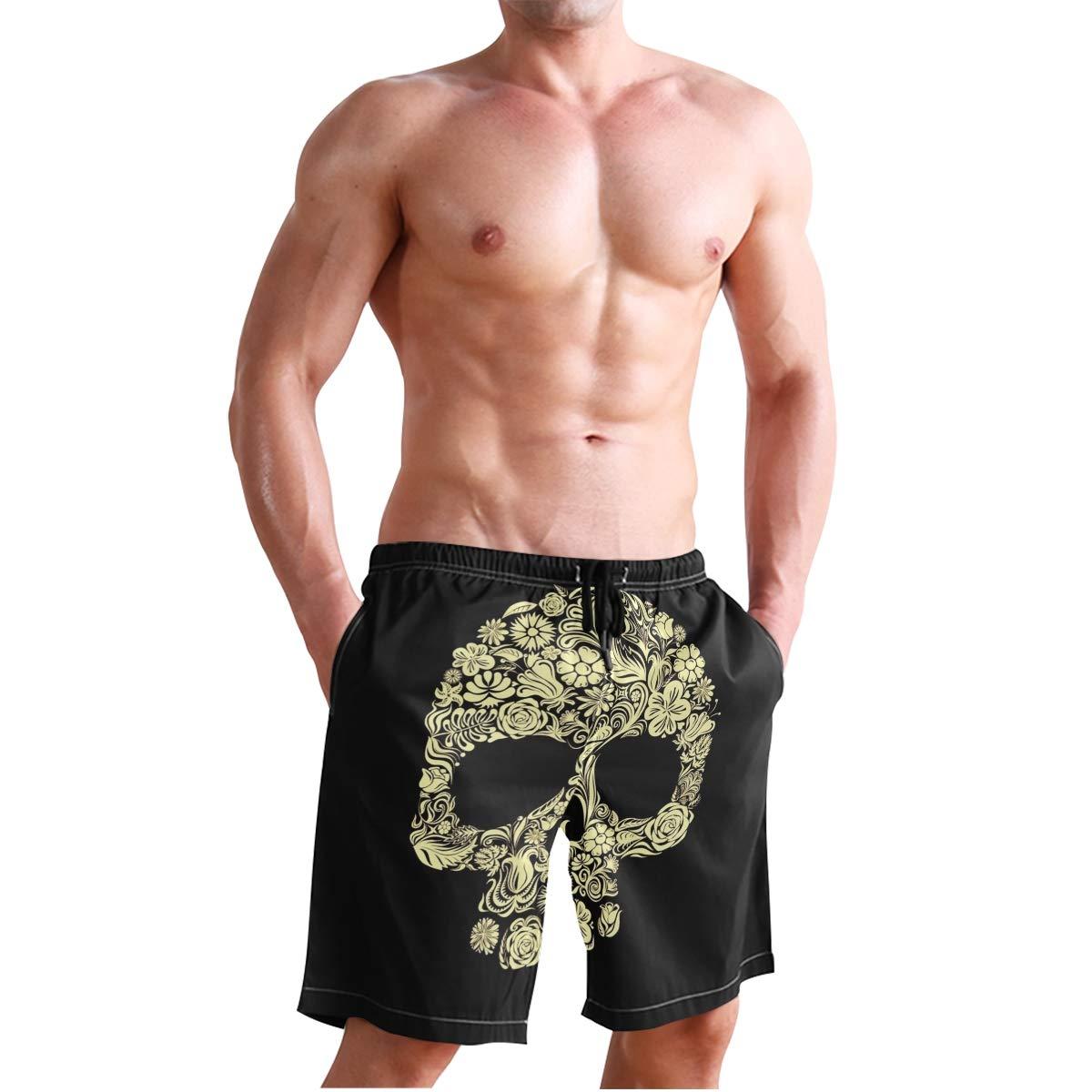 Men/'s Swim Trunks Beach Board Swimwear Shorts Dark Skull Swimming Short Pants Quick Dry Water Shorts Mesh Lining