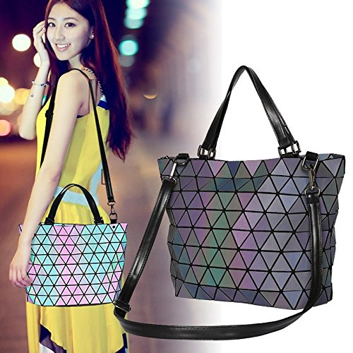 Matte Mirror Diamond Handbag Saser Casual Blue Geometry Matte Matte Sequins Luminous Bucket Plaid Tote Bags Laser Blue Women Bag Bag Folding Shoulder xBOXUn