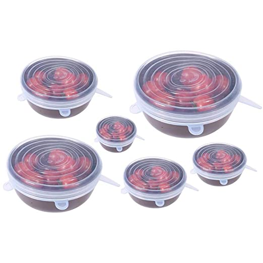 MONBAR - Tapas de silicona elásticas, 6 unidades, varios tamaños ...